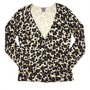 Ann Taylor Animal Printed V-Neck Cardigan Sweater